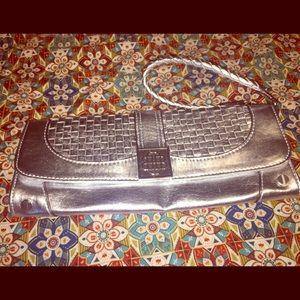 Dana Buchman's Silver Faux Leather Wristlet/Clutch